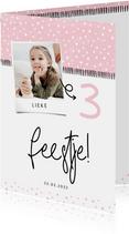 Kinderfeestje hip met foto en confetti aanpasbaar