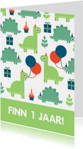 Kinderfeestje kaart met feestende dino's
