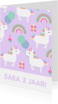 Kinderfeestje kaart met feestende unicorns