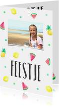Kinderfeestje kaartje zomerfruit