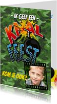 Kinderfeestje Knalfeest camouflage strip foto groen