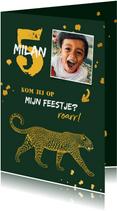 Kinderfeestje leopard goudlook met foto en spetters