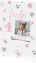 Kinderfeestje meisje roze jungle patroontje met foto