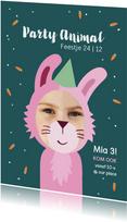 Kinderfeestje Party animal meisje als konijn