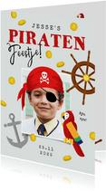 Kinderfeestje piraat boot speurtocht schatkist papegaai