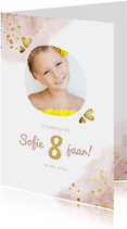 Kinderfeestje roze met foto, gouden hartjes en waterverf
