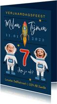 Kinderfeestje ruimte raket ruimte astronaut sterren tweeling