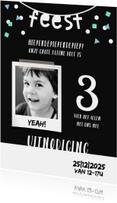 Kinderfeestje uitnodiging 3 jaar confetti