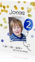 Kinderfeestje uitnodiging ballon blauw