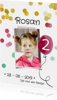 Kinderfeestje uitnodiging ballon roze
