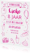 Kinderfeestje uitnodiging bowlen roze