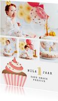 kinderfeestje uitnodiging cupcake cake smash fotocollage