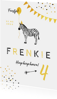 Kinderfeestje uitnodiging dieren zebra feestje confetti