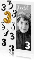 Kinderfeestje uitnodiging foto zwart wit