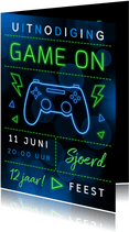 Kinderfeestje uitnodiging game party neon