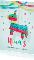 Kinderfeestje uitnodiging hip ezel piñata voor een meisje