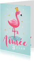 kinderfeestje uitnodiging hip voor meisje met flamingo