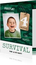 Kinderfeestje uitnodiging jongen leger survival jungle