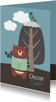 Kinderfeestje uitnodiging kleine beer winter