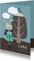 Kinderfeestje uitnodiging konijn meisje winter