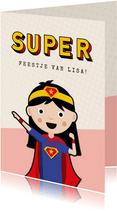 Kinderfeestje uitnodiging meisje superhelden feestje