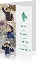 Kinderfeestje uitnodiging met 3 foto's en een robot