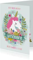 Kinderfeestje uitnodiging met eenhoorn en bloemen