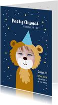 Kinderfeestje uitnodiging party animal jongen als beer