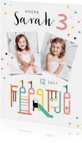 Kinderfeestje uitnodiging speeltuin confetti vrolijk foto