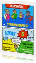 Kinderfeestjes - Kinderfeestje uitnodiging stripheldenfeest