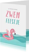 Kinderfeestje uitnodiging zwemmen flamingo water