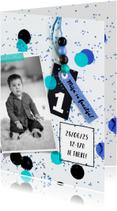 Kinderfeestje1 jaar confetti boy