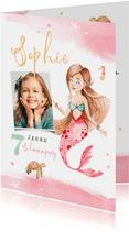 Kindergeburtstag Einladung Aquarell Meerjungfrau und Foto