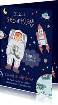 Kindergeburtstag Einladung Astronaut im Weltall