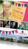 Kindergeburtstag Einladung Schloss Burg Wupper blau-rosa