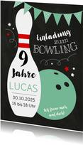 Kindergeburtstagseinladung Bowling grün
