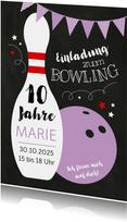 Kindergeburtstagseinladung Bowling lila