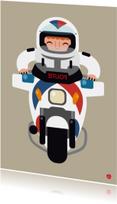 Kinderkaart met een illustratie van een motor agent
