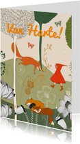 Kinderkaart met roodkapje wandelt in het bos