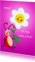Kinderkaart naar school - roze