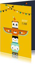 Kinderkaart - Totempaal van dieren