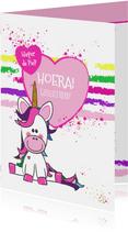 Kinderkaart vrolijke kaart met een unicorn en hartjes
