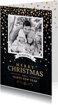 Klassieke foto kerstkaart zwart