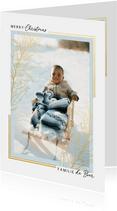 Klassieke kerstkaart met grote foto kader en gouden tak