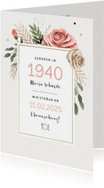 Klassische Einladungskarte Geburtsjahr und Blumen