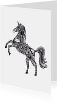 Kleurplaat kaarten - Kleurplaat kaart Unicorn