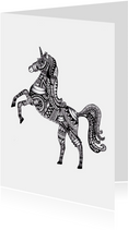 Kleurplaat kaart Unicorn
