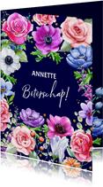 Kleurrijke beterschapskaart met Rozen en Anemonen