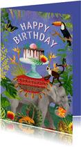 Kleurrijke verjaardagskaart met olifant met taart