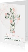 Kommunion Glückwunschkarte Kreuz mit Rosen